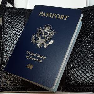 Neiman Marcus Black Faux Snake Skin Passport Set